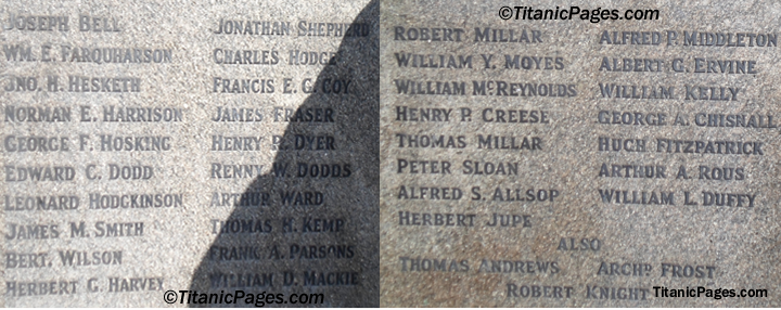The names on the Titanic Engineers Memorial