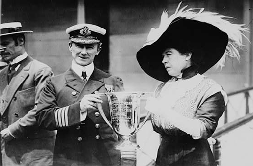 Margaret Brown with Arthur Rostron and the 'silver loving cup'