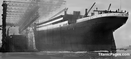Titanic being launched